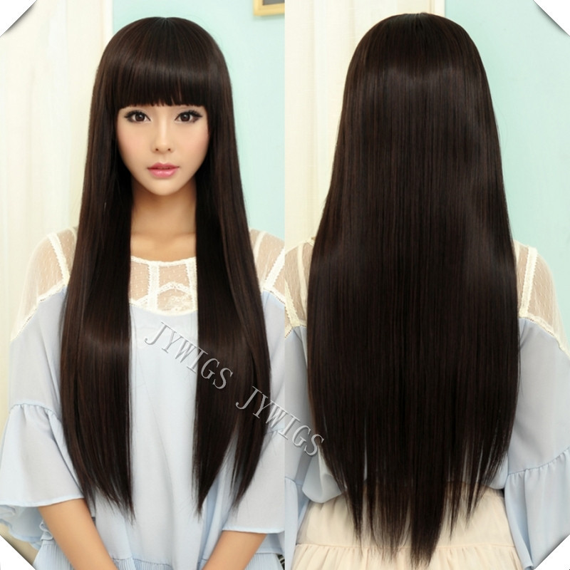 Lady Long Straight Women Wig Black Cosplay