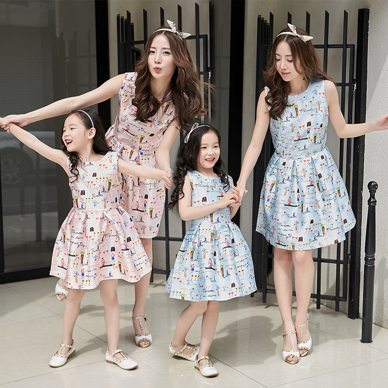 2016 Summer Style Mother Daughter Dresses Sleeveless Fashion Family Outfits Party Mom and Daughter Dress Family Clothing Dresses(China (Mainland))
