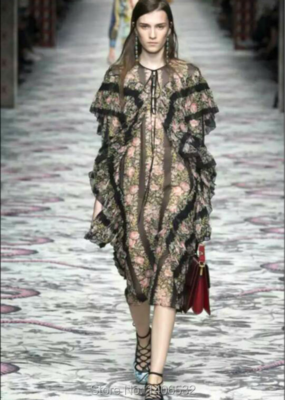 Silk Runway Dress 2015 Luxury Brand Dress Women Free ShippingОдежда и ак�е��уары<br><br><br>Aliexpress