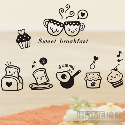 Wall stickers breakfast restaurant dining table wall stickers sticker pastry wall decoration kitchen cabinet decoration(China (Mainland))