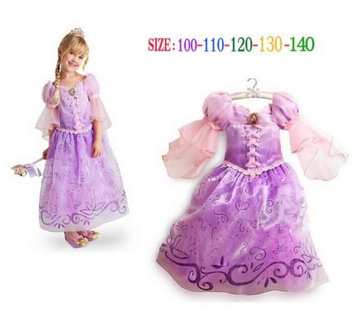 Fantasia Vestidos,2015 Elsa Anna Children Baby Kids Cosplay Dress Rapunzel Costume Princess Wear Perform Clothes Infantil Sofia(China (Mainland))