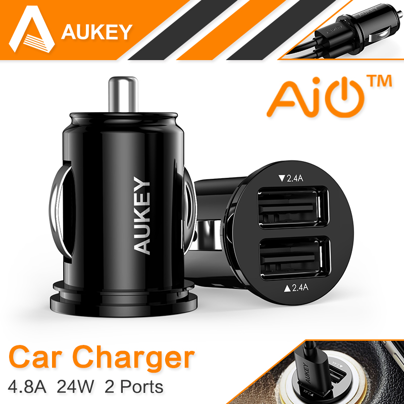 Aukey Universal 4.8A Dual Port Mini Car Charger Adapter for iPhone 5 6s Plus for Samsung Galaxy S6 H