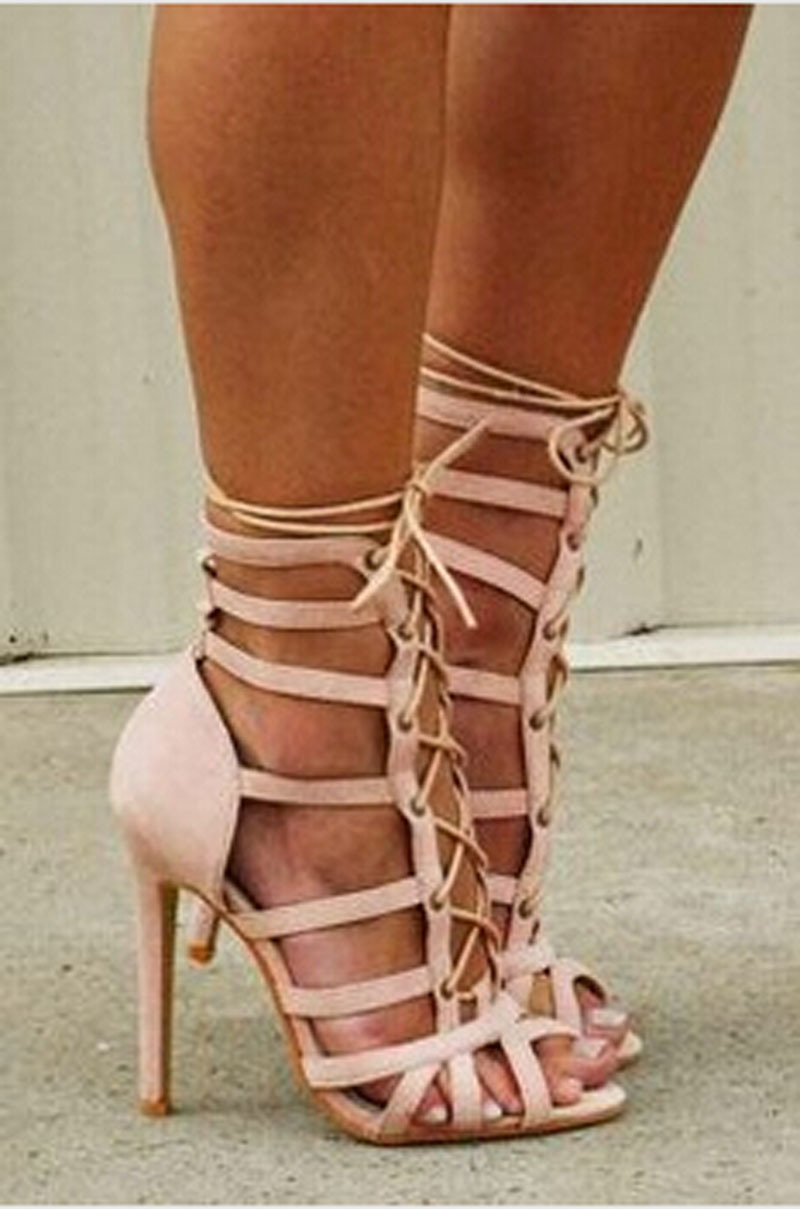 2015 fashion cut-out high heels cross strappy sandals lace peep toe summer style dress woman shoes - Fashion Western Style Boutique store