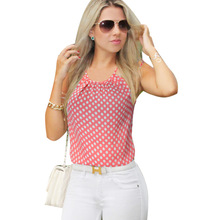VfEmage Womens Summer Style Chiffon Sexy Cut Out Back Straps Floral Polka Dot Casual Beach Loose Top Shirt Blouse 908(China (Mainland))