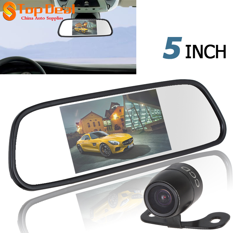 New 5 Inch Color TFT LCD Rearview Mirror Monitor 2 Video Input PAL NTSC With E306 18mm Waterproof Car Night Vision Camera(China (Mainland))