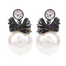 MANILAI Big Imitation Pearl Necklace Set For Women Fashion Colorful Ribbon Statement Necklace Earrings Wedding Jewelry Sets(China)