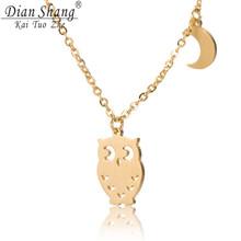 DIANSHANGKAITUOZHE 10pcs/lot 2016 Modern Jewelry Stainless Steel Cute Owl & Moon Necklace for Women Silver Gold Tattoo Choker(China (Mainland))