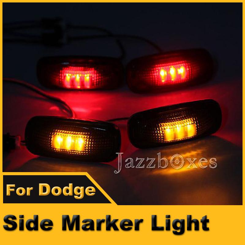 2x Red 2x Amber Rear Side Marker Lamp LED Light T10 For Dodge Ram 3500 2003~2009 Heavy Duty Trucks(China (Mainland))