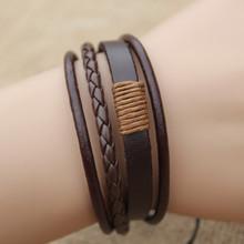 multilayer bracelet leather bracelets men  bracelets for women 2015  punk  vintage fashion jewerly black
