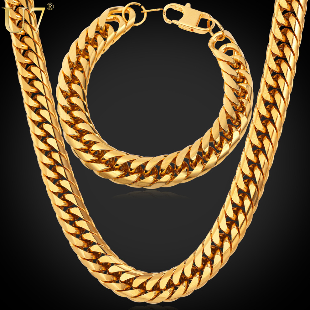 African Ethiopian Jewelry Set Gold Plated Jewelry Wholesale Thick Cuban Chain Necklace Bracelet Men Jewelry Stainless Steel S747(China (Mainland))