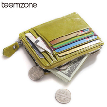 Buy teemzone New Unisex Women & Men's Genuine Leather Clutch Wallet Simple Card Holder Bag ID Credit Card Coin Holder Multicolor for $18.00 in AliExpress store