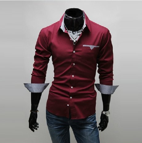 Free Shipping 2015 New Mens Shirts Casual Slim Fit Stylish Hot Dress Shirts Color:White,Black,Wine red 5907