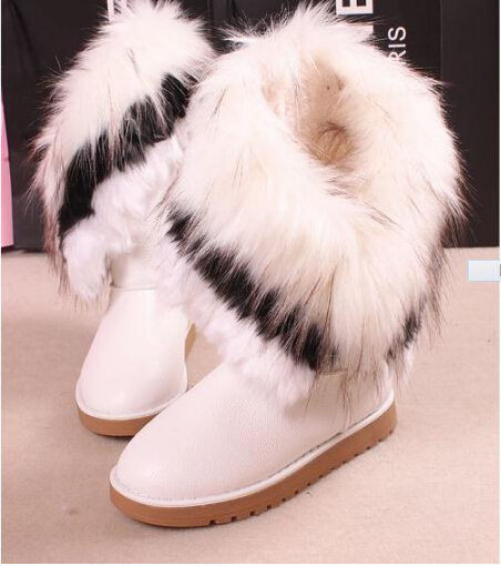 2014 New Winter Warm Mid-Calf PU Boots Women Snow boots artificial fox rabbit fur leather Woman Fashion Big Size 35-42 - On-line Services Sports Shoes Store store