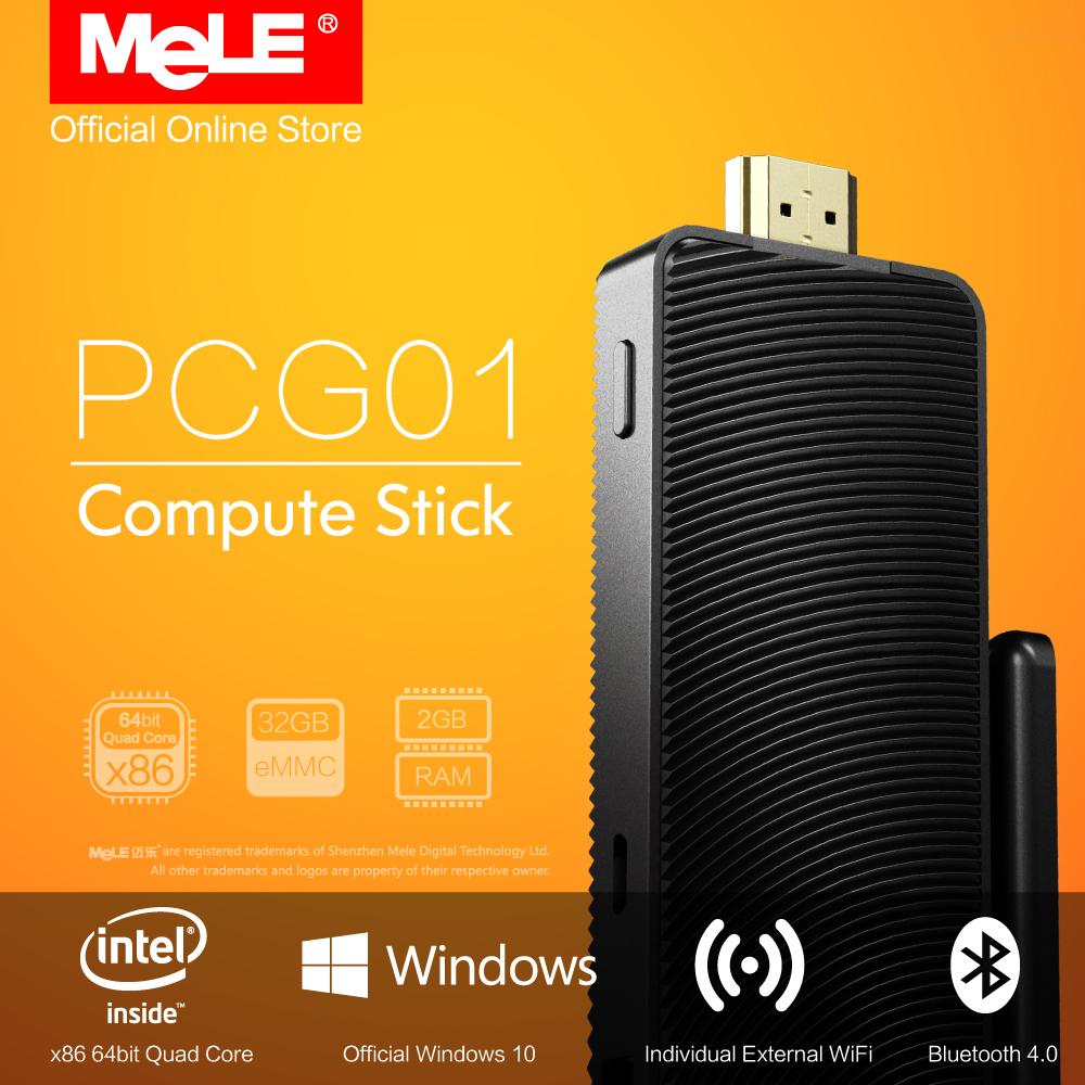 Fanless Intel Compute Stick MeLE PCG01 Quad Core Mini PC Genuine Windows 10 Bay Trail Z3735F 2GB DDR3 32GB eMMC HDMI WiFi BT(China (Mainland))