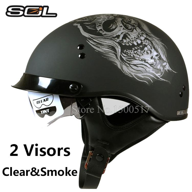 2 Visors SOL Harley Motorcycle Helmets Moto Bike Open Face Vintage Helmet Capacete Casco Fashion Half Helmet DOT Approved(China (Mainland))