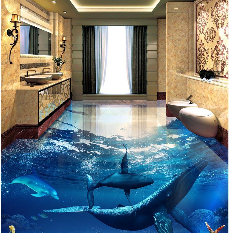 3d wall mural flooring ocean dolphin photo wallpaper mural for 3d wall murals