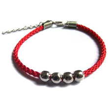 National wind men and women lovers bracelet hand rope Handmade beaded alloy four bead red rope bracelet can be adjusted(China (Mainland))