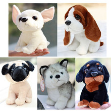 Plush doll 5pcs a set 20cm cartoon cute Husky Chihuahua Perky Pug dog little home decoration stuffed toy creative gift for baby