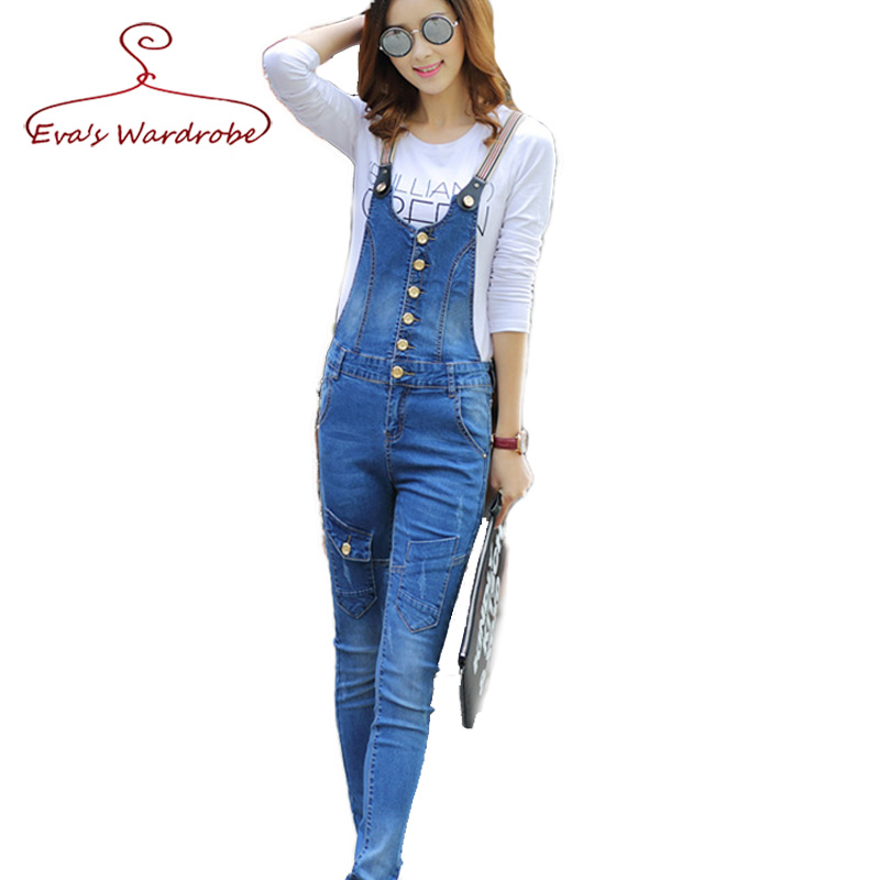 Luxury  DENIM JUMPSUIT WOMENS SLEEVELESS DISTRESSED SKINNY JEANS CATSUIT