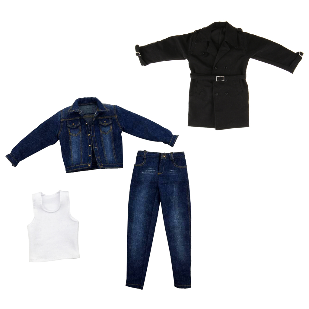 MagiDeal 1/6 Scale Male Rude Body Denim Jeans Pants Coat Long Jacket for 12'' ZY ZC Toys Dragon DML Doll Action Figures
