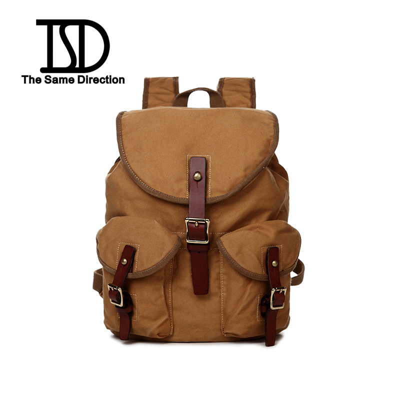 2015 New Men & Woman Vintage Canvas Backpack Canvas Leather Hiking Travel Military Preppy Style Satchel School bag 2 colors(China (Mainland))