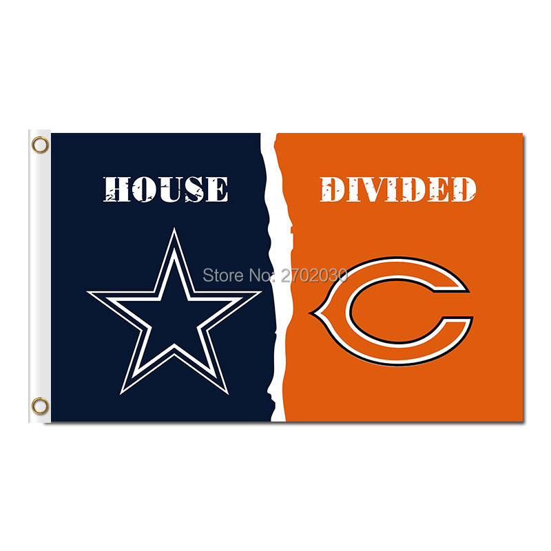 Dallas Cowboys Flag Vs Chicago Bears Flag World Series 2016 Footbal Banner 3ft X 5ft Jersey Premium Team Flags(China (Mainland))