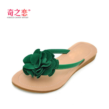 Hot 2013 spring and summer sweet handmade flower flip flops casual comfortable flat women's flip-flop slippers