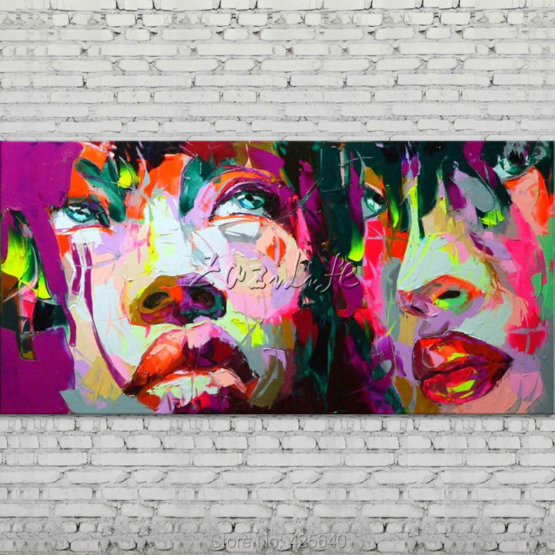 Buy Palette knife portrait Face Oil painting Character figure canva Hand painted Francoise Nielly wall Art picture for living room30 cheap
