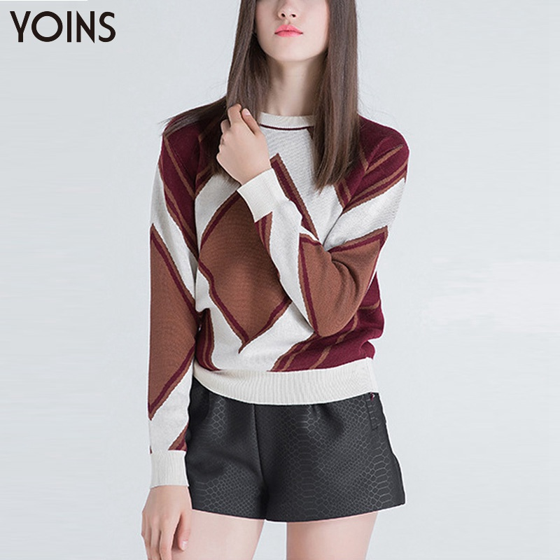 YOINS Autumn Winter Fashion Crew Neck Long Sleeve Knitted Pullover Sweater Casual Loose Women Sweater with Geometric Pattern