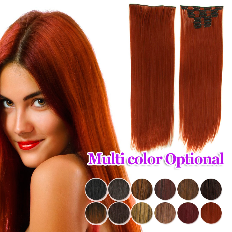 140g 23 inch long clip in hair extensions straight hairpiece synthetic 16 clips on hair extension hairpieces 25 colors available