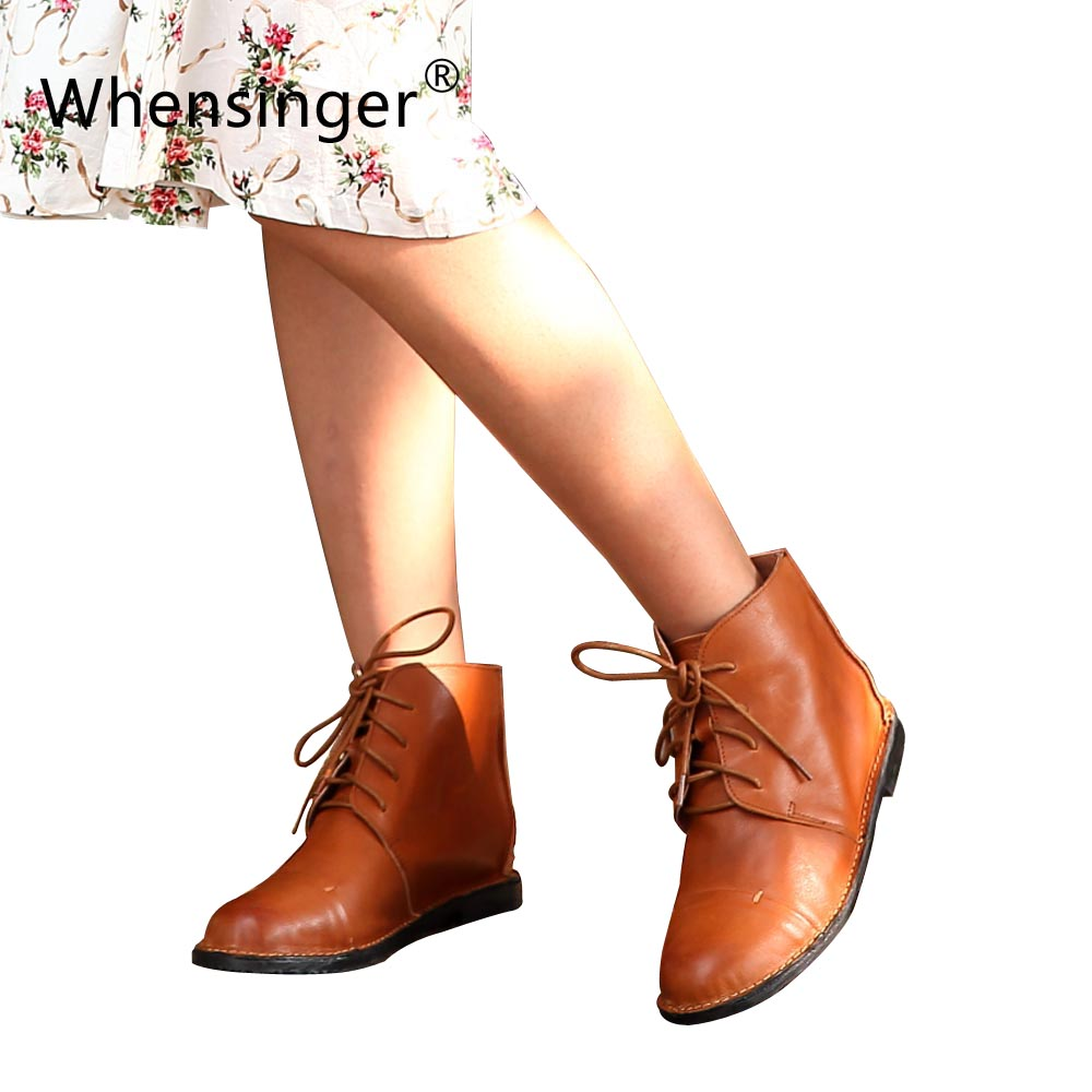 2015 New Fashion Handmade Vintage Genuine Leather Women Shoes Ankle Boots For Fall/Winter Art Round Toe Flat Heel Boots X1501<br><br>Aliexpress