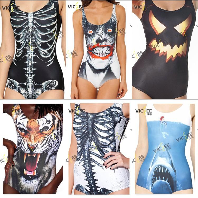 Bikini Special Print Scary Swimsuit Skull Shark Tiger Skeletal Individual Pattern Summer Dress Bathing Suit - VICSEE International Apparel Ltd store