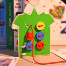 Kids Montessori Educational Toys Children Beads Lacing Board Wooden Toys Toddler Sew On Buttons Early Education Teaching Aids(China (Mainland))