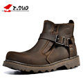 2017 Winter Z Suo Retro Crazy Leather Boots Classic Buckle Men Martin Boots Fashion Round Toe