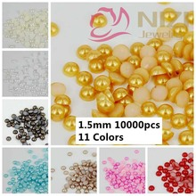 Pearlized Cabochon Half Round Beads 10000pcs 1.5mm Crafts ABS Resin Pearls Nail Art Ornament Jewelry Decorations Colors #14-#24(China (Mainland))