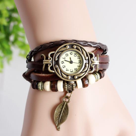 2015 Fashion Leather Strap Bracelet Wrist Watch Women Quartz Watch Leaf Pendant Watches Female Clock Lady Hour relogio feminino(China (Mainland))