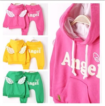 2014 Autumn winter new  Girls Boys Outfit Clothing Sets Children's Tracksuit twinset sport suit sweatshirt pants angel wing