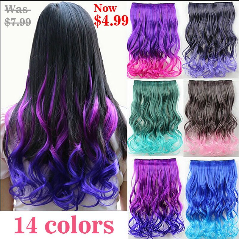 Hairpiece 23inch 120g Wavy 5 Clips in False Hair Styling Synthetic Clip In Hair Extensions One Piece