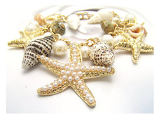 2016 Hot Sale New Fashion Accessories Trendy Link Chain Marine Bracelet Shells and Starfish Pendant Bracelet KYZ(China (Mainland))