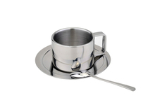 190 ml Three piece fation stainless steel coffee cup set stirring spoons plates mug drinkware tea