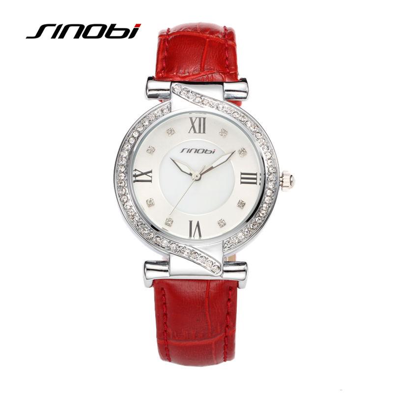 SINOBI Females Casual Silver Alloy Wristwatches Red Leather Waterproof Roman Womens Diamond Quartz Watches Bracelet Reloj <br><br>Aliexpress
