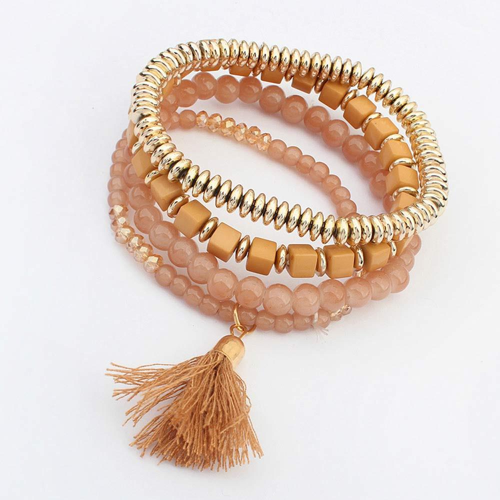 2016 Nueva Sweet Girls Women Chain Bracelet Ruby Cherries Charm fashion Jewellery Multilayer Beads Bangle Tassels Bracelets(China (Mainland))
