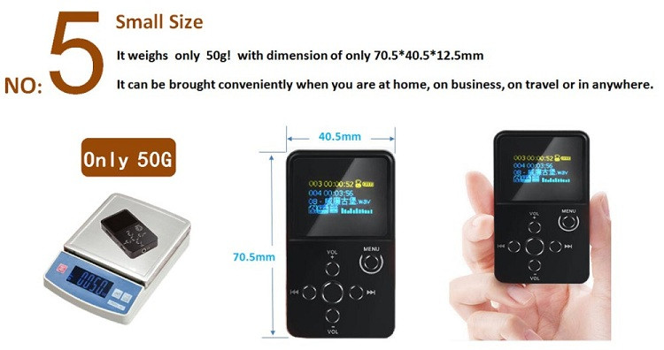 Original MP3 Player Professional Quality HIFI Music Player with OLED Screen Support MP3 WMA APE FLAC WAV Format 32G TF/SD Card