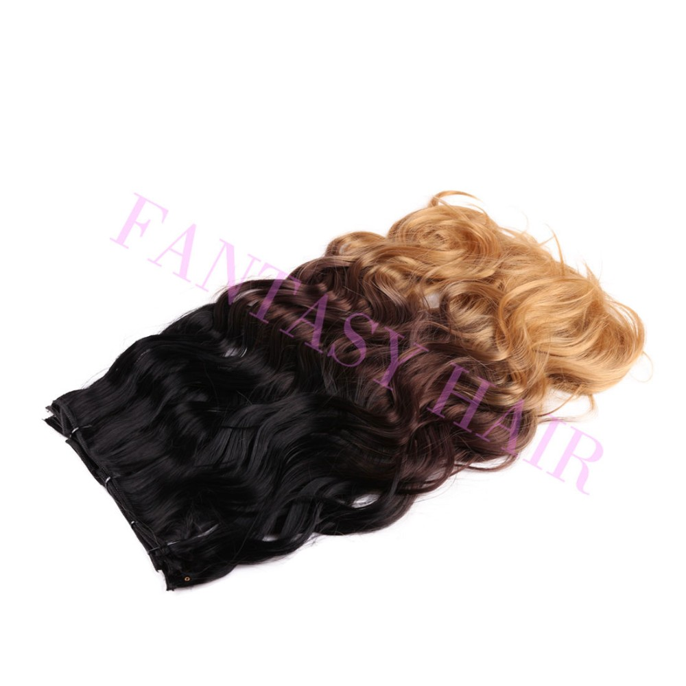 Heat resistant tangle free dark brown ombre body wave brazilian synthetic clip in hair extensions 8pcslot 20inch 160g P09364-3