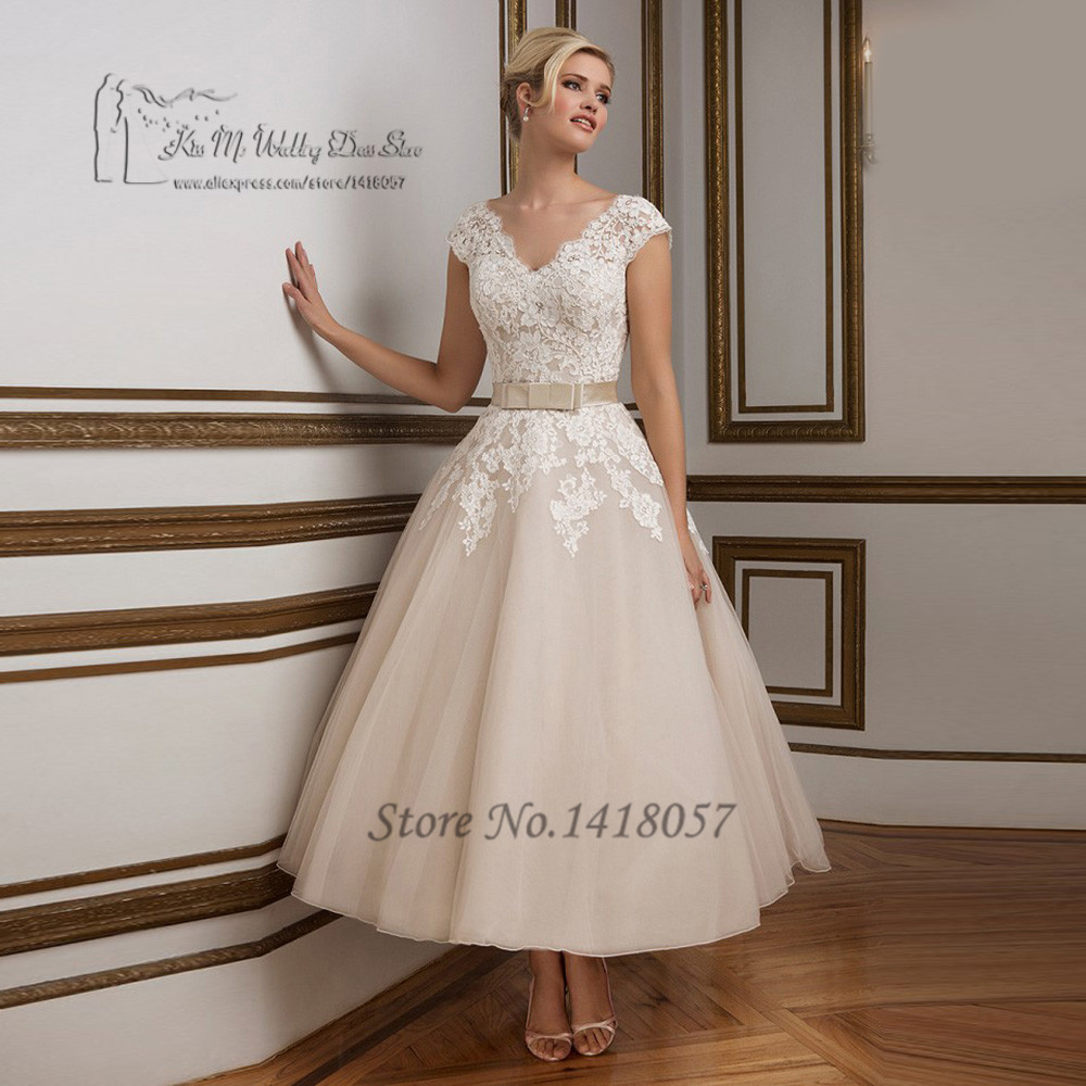 Vestido de noiva curto vintage tea length wedding dresses for Champagne tea length wedding dresses