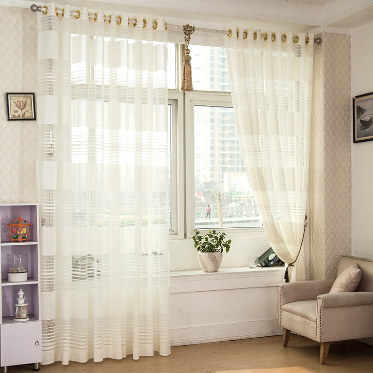 1 piece striped white sheer curtain for living room tulle window curtain for bedroom drapes with. Black Bedroom Furniture Sets. Home Design Ideas