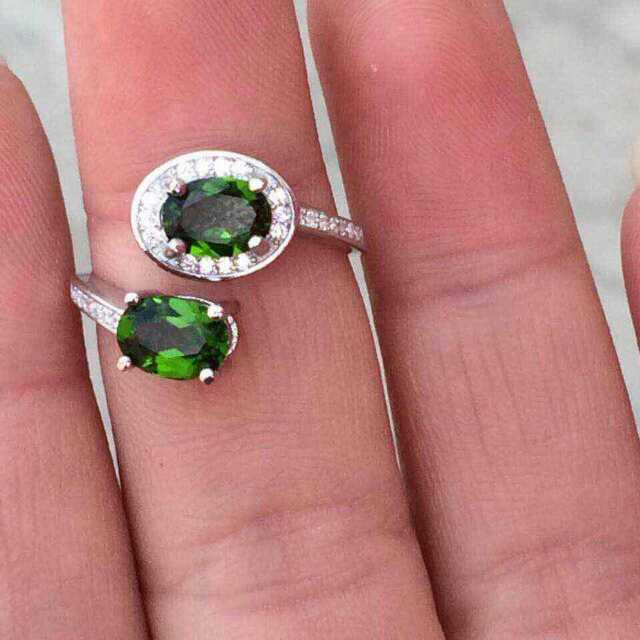 Fashion Love each other natural diopside stone rings with 925 sterling silver natural gem stone ring for lover party  jewelry<br><br>Aliexpress