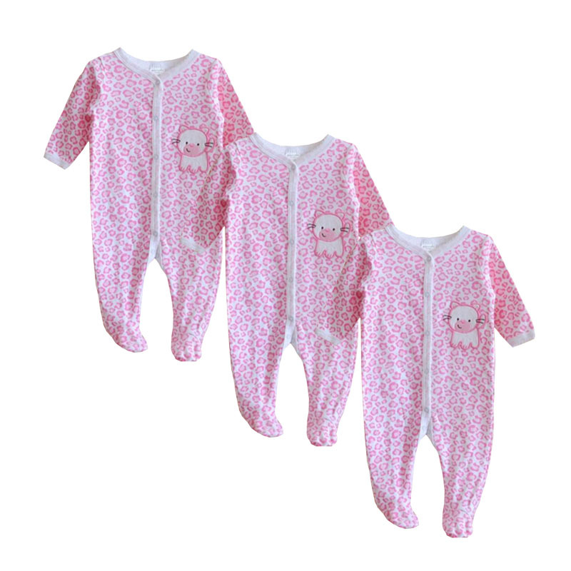 Free Shipping Baby Rompers Foot Cover Baby Girl's Pajamas Cotton Romper Newborn Feet Cover Sleepwear Body suits One-piece Romper(China (Mainland))
