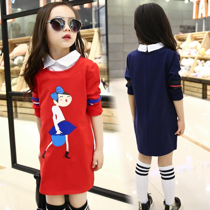 2016 Autumn Girl Dresses Children Clothing Fashion Print Long Sleeve Dress Baby Girls Clothes Kids Age 3-15T - A M store