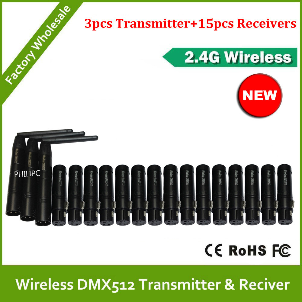 DHL Free Shipping 18pcs Wireless Receiver & Transmitter 2.4G ISM DMX512 LED Lighting for Stage PAR Party Light with Antenna(China (Mainland))